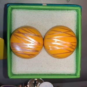 🔴2/$10 Metallic Striped Mustard Button Earrings